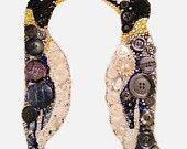 Bijoux Buttons Penguin Button Art Swarovski Rhinestones, Unique Gifts
