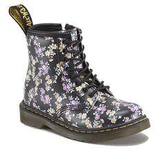 Doc Martens Dr. Martens Brooklee Black Floral Mini Tydee leather Shoe Kid Shoes R191911375