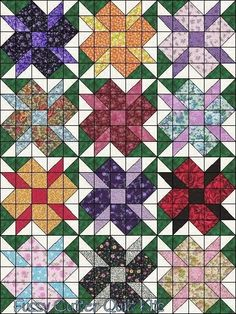 Scrappy Fabric Calico Flowers Easy Patchwork Pre-Cut Quilt Blocks Top Kit Squares