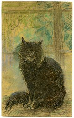Black cat sitting to front on a window ledge by Arthur Tomson