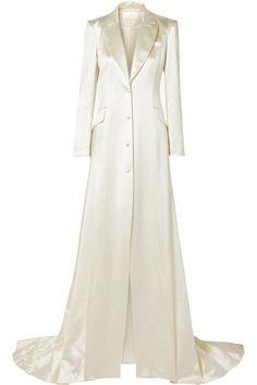Danielle Frankel - Jean silk and wool-blend satin coat Princess Wedding Dresses, Modest Wedding Dresses, Satin Coat, Silk Coat, Cream Jeans, Full Skirts, Bridal Fashion Week, Mermaid Dresses, White Silk