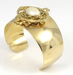 Gold and Pearl Filigree Cuff Bracelet by TashaHussey on Etsy, $95.00