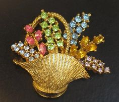 Vintage Pastel Rhinestone Signed ART Flower Basket Brooch