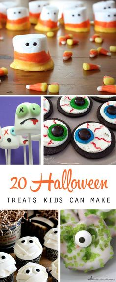 20 fun Halloween treats to make with your kids - fun and easy! Great recipes and craft ideas for after school or a Halloween party.: