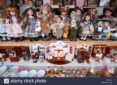 Toy Shop Window With Dolls And Traditional Goods In Berchtesgaden In Stock Photo, Royalty Free Image: 48490919 - Alamy