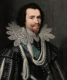 The Duke of Buckingham wears a wired collar with lace trim and a slashed doublet and sleeves. His hair falls in loose curls to his collar. C. 1625