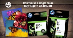 Buy one Original HP Ink, get a 2nd cartridge of equal or lesser value for 40% off #HPink Oct 4th to Oct 10th, 2015
