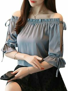 7da7cab17 Buy Women's Blouse Solid Slash Neck Flare Sleeve Top & Blouses - at Jolly  Chic