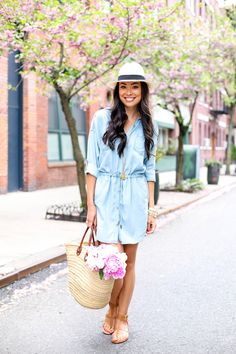 Chambray on Horatio Street - Banana Republic dress c/o  // Julie Vos necklace J.Crew hat  // Banana Republic sandals Vintage basket  // Bangles Thursday, May 7, 2015