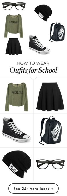 """school day"" by ariannacole on Polyvore featuring Vans, Miu Miu, Converse and NIKE"