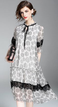 Elegant O-Neck Floral Print Silk Dress