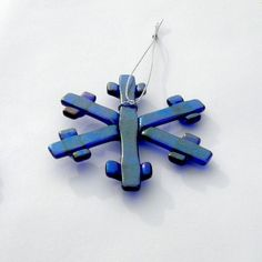 Snowflake Ornament Made with Iridescent Cobalt Art Glass for Holidays
