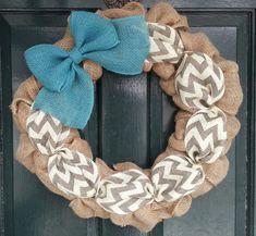 Burlap Wreath with Gray Chevron Burlap and Teal Burlap Bow- Front Door Wreath-Everyday Wreath- Wedding Gift- on Etsy, $49.95