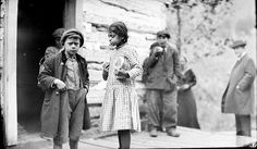 Monacan students in front of the Saint Paul's Mission Schoolhouse at Falling Rock, Virginia - 1914