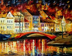 RED BRIDGE - PALETTE KNIFE Oil Painting On Canvas By Leonid Afremov http://afremov.com/RED-BRIDGE-PALETTE-KNIFE-Oil-Painting-On-Canvas-By-Leonid-Afremov-Size-24-x30.html?utm_source=s-pinterest&utm_medium=/afremov_usa&utm_campaign=ADD-YOUR