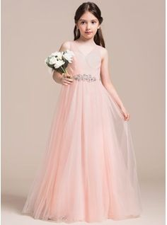 A-Line Princess V-neck Floor-Length Ruffle Beading Sequins Zipper Up  Regular Straps Sleeveless No Pearl Pink General Tulle Junior Bridesmaid  Dress a6b7f7ed9e7a
