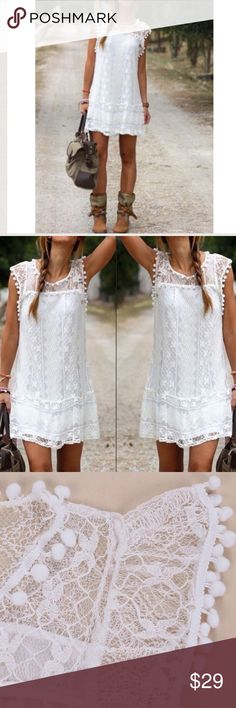 HOST PICK! Boho Sleeveless White Lace Mini Beach This cute and flirty white Bohemian style dress is so cute for Spring, Summer, or your vacation.   Beautiful quality and soft, the fun pom poms are the perfect accent to this gorgeous lace.  We now carry this in black too!  Brand new.  All measurements have been posted in the comments below. You will receive it quickly with manufacturer tags and original packaging.  Receive a NWT free gift with each purchase!  We typically ship same day! (DC…