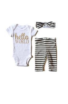 Hello World Take Home Outfit by PaisleyPrintsSpokane on Etsy