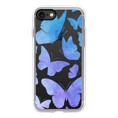 Cute Watercolor Butterflies - Butterfly Purple Blue - iPhone 7 Case,... ($40) ❤ liked on Polyvore featuring accessories, tech accessories, iphone case, purple iphone case, iphone cover case, iphone cases, apple iphone case and blue iphone case