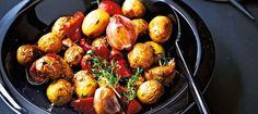 Recette de cocotte de pommes de terre grenailles, ail et tomates confites d'Eric Frechon