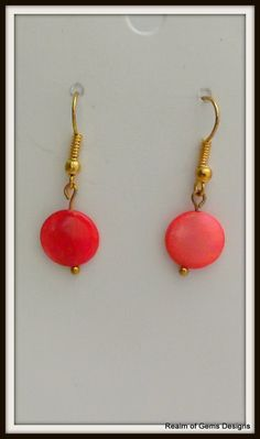 child shell earrings small red shell beads by realmofgemsdesigns, £8.00
