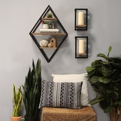 Stratton Home Decor Diamond Shelf Wall Decor