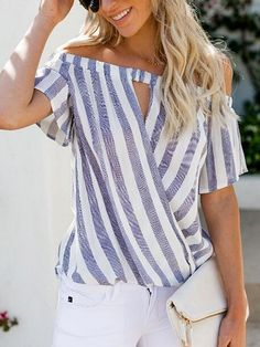 The blouse is striped and loose. The blouse features slash neck and wrap. The blouse features short sleeve. Blouse Styles, Blouse Designs, High Fashion, Fashion Tips, Fashion Design, Cheap Fashion, Fashion Ideas, Wrap Blouse, Blouse Online