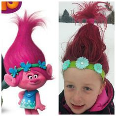 Trolls Princess Poppy Hair. Hairspray, toilet paper roll (TP), two ponytail holders, bobby pins, Pink hairspray, homemade headband.  night before: i put a small ponytail in the very top of her head. Hairspray everything upwards and dry.  Following morning, pull out the ponytail holder, feed ponytail through the TP. Separate ponytail and fold down, hold with 1 ponytial holder over TP and bobby pins. Tease all hair and pull up and secure above TP roll. w/ other holder. Bobby pin and spray…