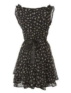 AX Paris Black Swallow Print Dress