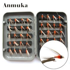 Anmuka 2017 New Fishing Fly Lures 40Pcs/Set Flies Trout Fly Fishing Bait Lure Hooks Storage Tackle With Plastic Box
