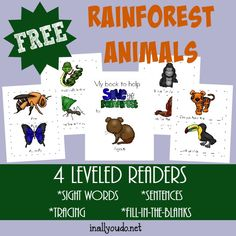 Studying the Rainforest this year? Get your little ones excited with these fun Rainforest Animals Emergent Readers! 4 levels :: www.inallyoudo.net