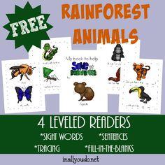 Rainforest Animals Emergent Readers - In All You Do Rainforest Preschool, Rainforest Theme, Rainforest Animals, Preschool At Home, Preschool Themes, Animal Activities, Kindergarten Activities, Summer Activities, Forest Habitat