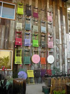 wall of fermob chairs
