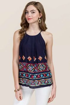 Angel Embroidered High Neck Pleated Tank