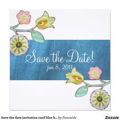 Save the date invitation card blue border