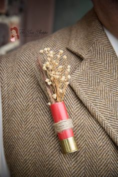 Dired Floral Shotgun Shell Boutonniere  *Photo Courtesy of Green Holly Weddings*