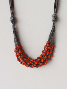 Dark grey orange necklace Crochet beaded necklace Gift for her under 25 Rustic jewelry Multi strand cotton necklace with glass beads ohtteam Crochet Beaded Necklace, Bead Crochet, Diy Necklace, Beaded Jewelry, Handmade Jewelry, Necklaces, Paper Bead Jewelry, Crochet Jewellery, Heart Jewelry