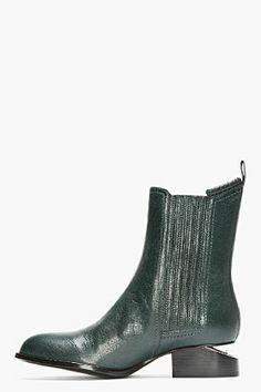 ALEXANDER WANG Dark Green Leather Silver-Heeled Anouck Chelsea Boots