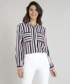 9967a142bd Camisa Feminina Listrada com Bolsos Manga Longa Branca