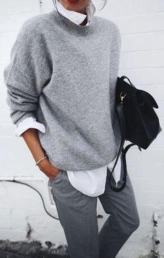 minimal. work wear. grey knit. street style.