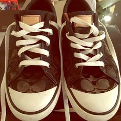 """Coach """"Briar"""" Sneakers Size 11 (Women) Coach """"Briar"""" Sneakers Size 11 (Women).  Worn but in good condition.  These sneakers are discolored in various areas.  Please look at pics.  Price is negotiable. Coach Shoes Sneakers"""