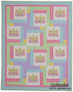 Dancing Butterflies Quilt Kit: Carefree butterflies flutter across Kate Colleran's adorable Dancing Butterflies crib quilt from our new May/June '16 issue of Quiltmaker. Create your own with our time-saving kit featuring fabrics from Riley Blake Designs.