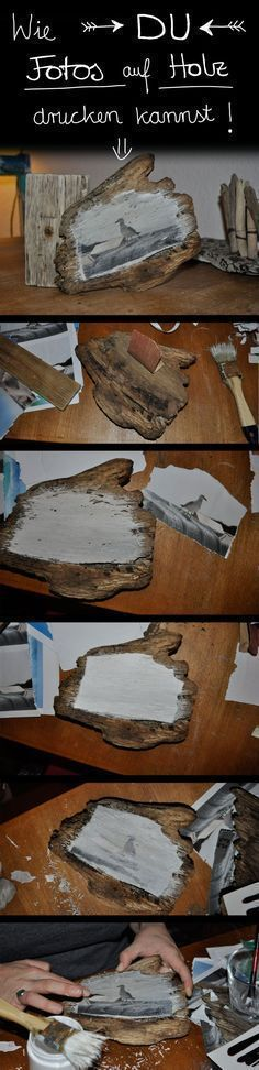 Wie Du Fotos auf Holz drucken kannst Detailed instructions on how to print photos and pictures on wood can be found under the link, if [. Photo On Wood, Picture On Wood, Wood Crafts, Diy And Crafts, Art Crafts, Bois Diy, Kids Wood, Diy Art, Wood Art