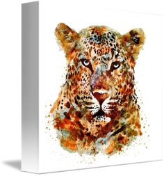"""""""Leopard+Head+Watercolor""""+by+Marian+Voicu,+Bucharest+//+Watercolor+art+is+an+awesome+idea+for+a+wall+decor.+My+art+is+suitable+for+home+or+office+decor+and+the+perfect+solution+for+a+last+minute+gift.+//+Imagekind.com+--+Buy+stunning+fine+art+prints,+framed+prints+and+canvas+prints+directly+from+independent+working+artists+and+photographers."""