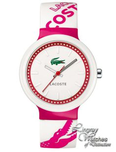 Lacoste - Unisex Pink & White Rubber Strap Watch - 2010523  Online price: £50.00  www.lingraywatches.co.uk