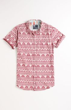 Modern Amusement  Great Pyramids Printed Short Sleeve Woven Shirt