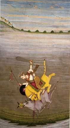 Durga slaying the buffalo demon. Bikaner, c. 1700.     http://www.navinkumar.com/book/big/112.jpg