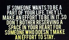 Deja espacio para quien de verdad quiera quedarse!