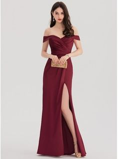 Sheath/Column Off-the-Shoulder Floor-Length Satin Prom Dress With Ruffle Split Front (018138358)