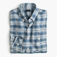 J.Crew+-+End-on-end+linen-cotton+shirt+in+navy+plaid
